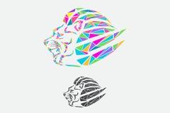 Progettazione di arte del triangolo di logo del leone immagini stock