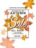 Progettazione di Autumn Sale Banner, del manifesto o dell'aletta di filatoio Fotografia Stock