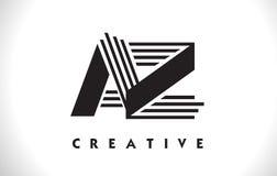 Progettazione di AZ Logo Letter With Black Lines Linea vettore Illus della lettera Immagini Stock