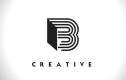 Progettazione di B Logo Letter With Black Lines Linea vettore Illust della lettera Immagini Stock Libere da Diritti