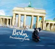 Progettazione di Berlin Brandenburg Gate Movie Poster Fotografie Stock