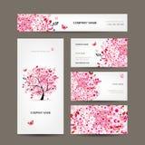 Progettazione di biglietti da visita con il rosa floreale dell'albero illustrazione di stock