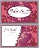 Progettazione di biglietto da visita di marmorizzazione colorata rosa astratto Fotografia Stock