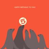 Progettazione di biglietto di auguri per il compleanno con i leoni marini Fotografie Stock Libere da Diritti