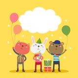 Progettazione di biglietto di auguri per il compleanno felice con gli animali svegli Fotografia Stock