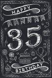 Progettazione di biglietto di auguri per il compleanno felice di anniversario sulla lavagna Fotografia Stock Libera da Diritti