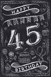 Progettazione di biglietto di auguri per il compleanno felice di anniversario sulla lavagna Immagini Stock Libere da Diritti