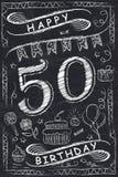 Progettazione di biglietto di auguri per il compleanno felice di anniversario sulla lavagna Fotografie Stock