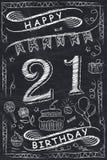Progettazione di biglietto di auguri per il compleanno felice di anniversario sulla lavagna Fotografia Stock