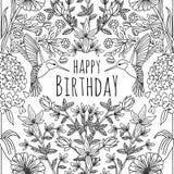 Progettazione di biglietto di auguri per il compleanno tropicale disegnata a mano Fotografie Stock Libere da Diritti