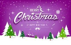 Progettazione di Buon Natale, dell'albero e della neve su fondo porpora royalty illustrazione gratis