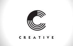 Progettazione di C Logo Letter With Black Lines Linea vettore Illust della lettera Fotografia Stock