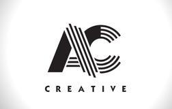 Progettazione di CA Logo Letter With Black Lines Linea vettore Illus della lettera Immagini Stock Libere da Diritti