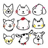 Progettazione di carattere dell'animale domestico, colate, cani royalty illustrazione gratis