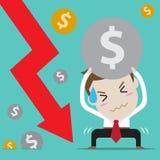 Progettazione di carattere dell'uomo d'affari Uomo d'affari con economia e finanza (Metta della gente di affari circa l'economia  Fotografia Stock
