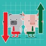 Progettazione di carattere e concetto di affari Illustrazione del toro contro la b Fotografia Stock Libera da Diritti
