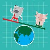 Progettazione di carattere e concetto di affari Illustrazione del toro e Fotografia Stock
