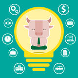 Progettazione di carattere e concetto di affari Illustrazione dello symb del toro Immagine Stock