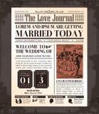 Progettazione di carta d'annata dell'invito di nozze del giornale Fotografia Stock Libera da Diritti