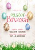 Progettazione di carta dell'invito del brunch di Pasqua, illustrazione delle uova di Pasqua colourful royalty illustrazione gratis