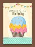 Progettazione di carta dell'invito per il compleanno Immagini Stock