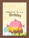 Progettazione di carta dell'invito per la festa di compleanno Fotografie Stock