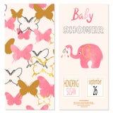 Progettazione di carta della ragazza della doccia di bambino con le farfalle e l'elefante sveglio royalty illustrazione gratis