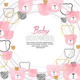 Progettazione di carta della ragazza della doccia di bambino con gli orsi di rosa dell'acquerello dell'estratto royalty illustrazione gratis