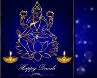 Progettazione di carta di Diwali, diya con il fondo di laxmi illustrazione di stock