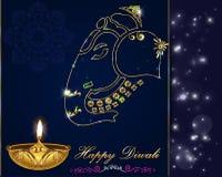 Progettazione di carta di Diwali, diya sul fondo di ganesha illustrazione vettoriale