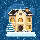Progettazione di carta di inverno con la casa e gli alberi Fotografia Stock