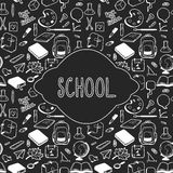 Progettazione di carta di tema della scuola, elementi disegnati a mano della scuola Immagini Stock