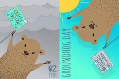 Progettazione di carta felice di giorno della marmotta Immagine Stock