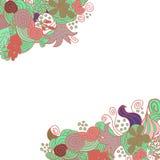 Progettazione di carta floreale disegnata a mano dell'angolo di scarabocchio di vettore Immagini Stock
