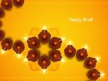 Progettazione di carta gialla elegante di colore per il festival di diwali Immagine Stock