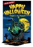 Progettazione di carta di Halloween con la mano dello zombie Immagini Stock