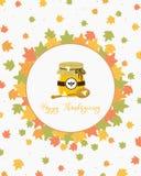 Progettazione di carta di ringraziamento Honey Jar e vettore del fumetto di Dipper royalty illustrazione gratis