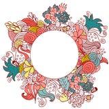 Progettazione di carta rotonda di colore di scarabocchio floreale disegnato a mano di vettore Immagine Stock