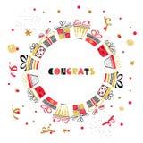 Progettazione di carta rotonda di compleanno con i presente rossi e dorati illustrazione di stock