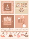 Progettazione di carte di Greetring della doccia della neonata Fotografie Stock Libere da Diritti