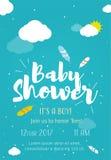 Progettazione di carte sveglia dell'invito per il partito di doccia del bambino con l'illustrazione delle piume, delle nuvole e d Fotografia Stock