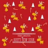 Progettazione di cartolina di Natale del fumetto con le renne Fotografia Stock Libera da Diritti