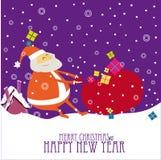 Progettazione di cartolina di Natale del fumetto con Santa Immagine Stock