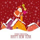 Progettazione di cartolina di Natale del fumetto con Santa sveglia Immagine Stock Libera da Diritti