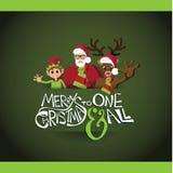 Progettazione di cartolina di Natale dell'elfo e della renna di Santa illustrazione di stock