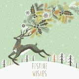 Progettazione di cartolina di Natale della renna Fotografie Stock