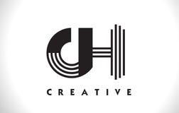 Progettazione di CH Logo Letter With Black Lines Linea vettore Illus della lettera Immagine Stock Libera da Diritti