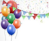 Progettazione di compleanno con il pallone ed i coriandoli Fotografia Stock Libera da Diritti