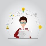Progettazione di Coworking sopra fondo grigio, illustrazione Immagine Stock Libera da Diritti