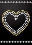 Progettazione di cristallo del cuore degli zecchini dell'oro e dell'argento Fotografie Stock Libere da Diritti